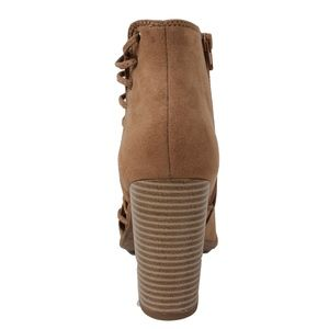 Shoes - Light Tan  Peep Toe Lace up Side Stack Heel Boot